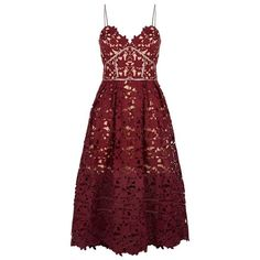 Self-Portrait Azalea Lace Dress ($320) ❤ liked on Polyvore featuring dresses, see through dress, lacy dress, red lace cocktail dress, sheer dress and lace dress