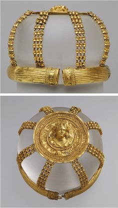 Openwork hairnet with medallion, Hellenistic, 200–150 b.c.  Greek, Ptolemaic  Gold