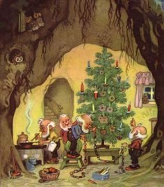 Fritz Baumgarten ~ Trimming The Tree Christmas Illustration, Children's Book Illustration, Vintage Christmas Cards, Christmas Images, Christmas Gnome, Christmas Art, Les Moomins, Elves And Fairies, Magical Creatures