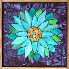 Student Work from a Kasia Mosaics Stained Glass Mosaic Flower Workshop - Water Lily by Kristin. Sign up for a class near you on the 2015 Kasia Mosaics US Tour via www.kasiamosaics.com