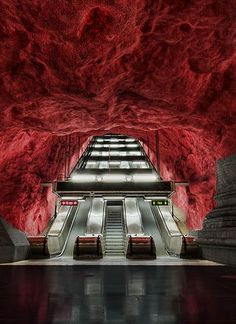 Solna Station Stockholm metro escalators