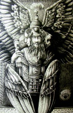"Kuribu: Guardian jinni of Mesopotamia. The Hebrew name for this being is ""Cherubim"", not to be confused with the Cherubim in Christian mythology which borrowed a great deal of Greco-Roman mythos and bastardizing the Cherub jinni into an angelized infant."