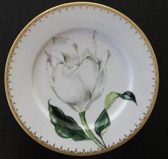 Assiette fleurs blanches Peinture sur porcelaine