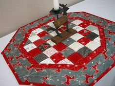 Items similar to Christmas Table Topper Quilted Runner Octagonal Reindeer Snowflakes Quilt Red Silvery Gray Quiltsy Handmade FREE U. Shipping on Etsy Table Topper Patterns, Quilted Table Toppers, Table Runner Pattern, Quilted Table Runners, Etsy Christmas, Christmas Sewing, Xmas, Christmas Items, Christmas Colors