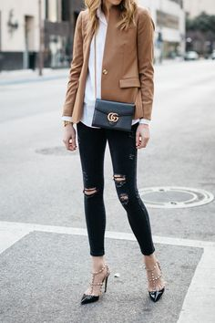 Fall Outfit, Winter Outfit, White Button-Down Shirt, Camel Blazer, Gucci Marmont Handbag, Black Ripped Skinny Jeans, Valentino Rockstud Pumps #valentinorockstud
