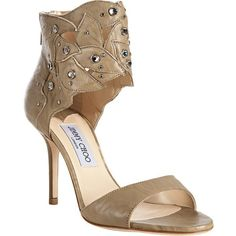Jimmy Choo Dark Beige Leather Crystal Detail 'Lilt' Ankle Cuff Sandals ($716) ❤ liked on Polyvore