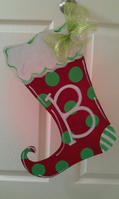 Christmas Stocking door hanger wood red white and green can be made with any initial very cute adorable for any door or room order today!