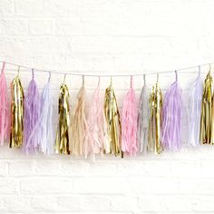Peach Blossom Easter Pastel Tassel Garland ($58) ❤ liked on Polyvore featuring accessories, hair accessories, flower garland, floral crown, flower crown, tassel garland und flower hair accessories