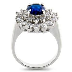 Size 9 - 3.50 Ct Oval Cut Blue Sapphire Color Cz Engagement Cocktail Ring with Round Cut Side Stones -