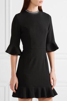 Rebecca Vallance - Billie Ruffled Stretch-crepe Mini Dress - Black - UK12