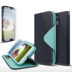 Navy Blue / Mint Samsung Galaxy S4 Wallet Case; Best Design with Coolest Premium [PU/Faux Leather] with Stand Feature and Magnetic Flap Closure; Functional Fashion Slim Wallet Case Cover for Galaxy S4 (Release Date); Supports Samsung S4 Devices From Verizon, AT&T, Sprint, and T-Mobile, http://www.amazon.com/dp/B00CLUZ8OU/ref=cm_sw_r_pi_awdm_1eR6tb13EKD9J
