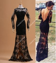 2014 Sexy Design Black Lace Overlay Deep V Back See by ColorDress