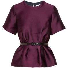 3.1 Phillip Lim Belted satin-twill peplum top (490 BAM) ❤ liked on Polyvore featuring tops, blouses, shirts, blusas, shirts & tops, purple top, satin blouse, peplum tops and purple shirt