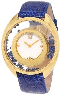Versace Women's 86Q741MD497 S282 Destiny Precious Yellow-Gold Plated Mother-Of-Pearl Diamond Lizard Watch   Your #1 Source for Watches and A...