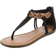 Women's Minnetonka Antiqua Black Suede and Red Beaded Sandals
