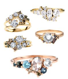 For band ideas--- Heirloom diamonds and ethically-sourced gems bring romance to our latest round-up of bespoke ombre cluster rings. These gorgeous Engagement Rings radiate with pale, soothing colors and rose-cut diamonds. Jewelry Rings, Jewelry Accessories, Fine Jewelry, Jewelry Design, Jewlery, Pandora Jewelry, Women Jewelry, Rose Cut Diamond, Diamond Rings