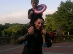 The actual story of Tom Hiddleston and baby Captain America. And it is cuter than anything the internet has made up. I promise you.