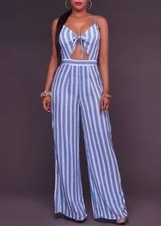Dark Blue Striped Bowknot Cut Out Spaghetti Strap High Waisted Long Jumpsuit Long Jumpsuits, Playsuits, Jumpsuits For Women, Jumpsuit Elegante, Elegant Jumpsuit, Tailored Jumpsuit, Summer Outfits, Cute Outfits, Jumpsuit Outfit