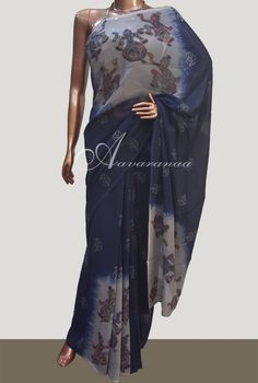 Blue georgette saree Kalamkari