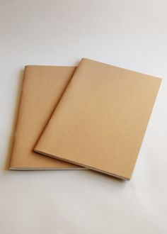 Pack of 2 A5 notebook/sketchbooks. Staple bound with 40 plain white acid free pages and matt Kraft cover
