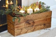 Beautiful DIY vintage crate with Christmas greens, berries, and candles. via Amy Huntley {The Idea Room} Primitive Christmas, Noel Christmas, Country Christmas, Winter Christmas, Vintage Christmas, Christmas Crafts, Christmas Decorations, Xmas, Christmas Candles
