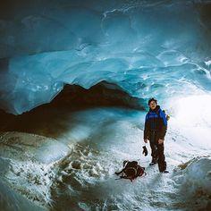 Mark McMorris, ice cave explorer. Whistler, BC.