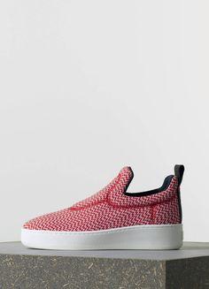 Céline Pull On Sneaker in Red Zig Zag Jacquard 35 mm Shoe Basket eaa81a690ed