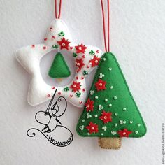 Felt ornaments decorated with beads