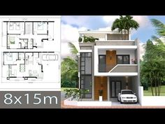 Home Design Plan with 4 Bedroom House description:The House has two story level with big terrace roof top House Design Home Design Plan with 4 Bedrooms - SamPhoas Plan House Plans 2 Storey, 3d House Plans, Narrow House Plans, Simple House Plans, Two Storey House, Modern House Plans, 2 Story House Design, Simple House Design, Cool House Designs