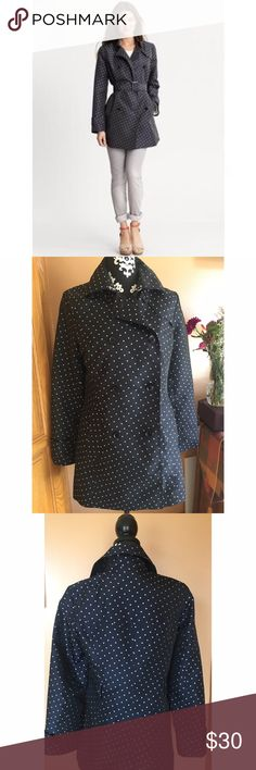 Banana Republic Polka Dot Trench Size Medium. Banana Republic Whimsical miniature dots add major personality to our mid length trench. Straight collar. Hook and eye at neck. Double breasted button closure. Missing belt. Fully lined. Front on seam pockets. Back vent. Mid length. Hits at upper thigh. Model is 5'9'. Banana Republic Jackets & Coats Trench Coats