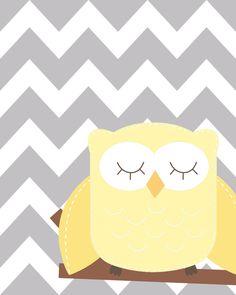 Yellow and gray nursery, Nursery Owl Art, Grey and Yellow Nursery, Owl Nursery, Set of 4