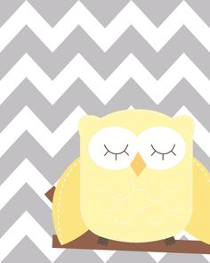 25% OFF NOW Yellow and gray nursery Nursery Owl Art by ChicWallArt