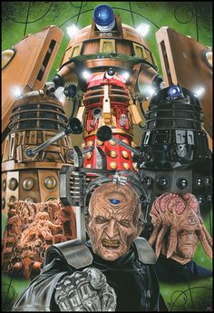 """Doctor Who - The Daleks"". Painting in acrylic on illustration board by Steve Caldwell. Doctor Who - The Daleks"