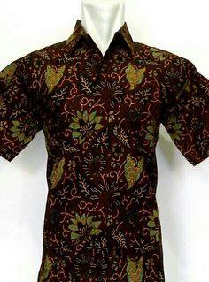 Kemeja batik katun sogan warna motif daun batik solo 75000