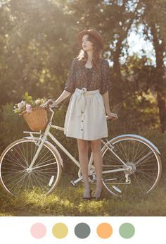Love everything about this: outfit, bike, flowers