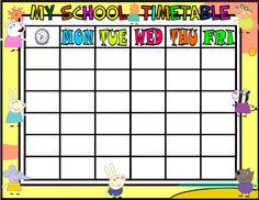 Sharing Printable School Timetable  Idee Per Lisa