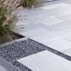 This closeup shows how the classic beauty of schist can be used to frame other elements like plants or gravel. Classic Beauty, Natural Materials, Landscape Architecture, Exterior Design, Slate, Natural Stones, Terrace, Sidewalk, Canning