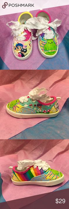 Personalized kids shoes💕 true and the 🌈 kingdom Adorable sneakers hand painted and sealed for outdoor play.  Customize with your name 💜  Available in  Toddler size: 7-11 Kid size: 12, 1-6 I am able to do some infant and adult sizes. Comment with details when you purchase 🤗 All characters are inspired by the Netflix show True and the Rainbow Kingdom 🌈 👑  Check out my Etsy shop for more 😘 @OneNestCo OneNestCo Shoes