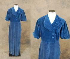 vintage 40s Jumpsuit - 1940s Lounge Pantsuit - Blue Velvet Pajamas Romper Sz M
