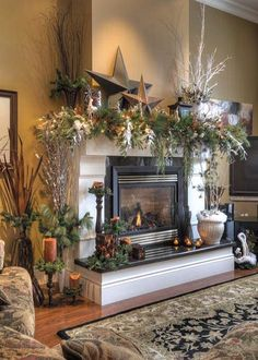 20 Rustic Christmas Home Decor Ideas - This Silly Girl's Kitchen Christmas Fireplace Mantel Decorating Ideas for 2012 - Mantel Decorate . Fireplace Mantel Christmas Decorations, Christmas Mantels, Noel Christmas, Country Christmas, Xmas Decorations, Winter Christmas, Christmas Crafts, Mantel Ideas, Decor Ideas