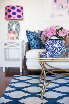 The Pink Pagoda: Blue and White Monday from Australia's Anna Caldwell. living room. pop of color in the room. home decor and interior decorating ideas.