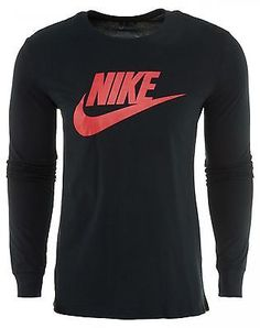 Nike Futura Icon T-Shirt Mens 708466-010 Black Red Logo Long Sleeve Tee Size 2XL