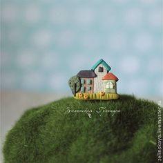 Городок (3). Брошь - городок,домики,городской пейзаж,брошь из полимерной глины