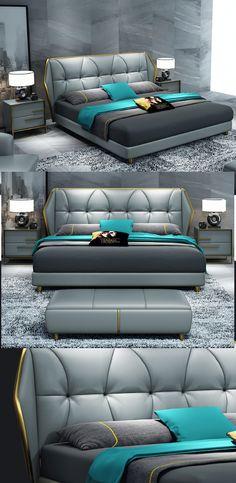 Postmodern light luxury leather bed – Bedroom - Away Suitcase Bed Headboard Design, Bedroom Bed Design, Bedroom Furniture Design, Modern Bedroom Design, Headboards For Beds, Bed Furniture, Steel Furniture, Furniture Stores, Simple Bed Designs