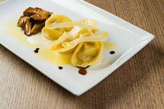 Parmigiano Reggiano cappellaccio and porcini mushrooms with traditional balsamic vinaigrette blisters