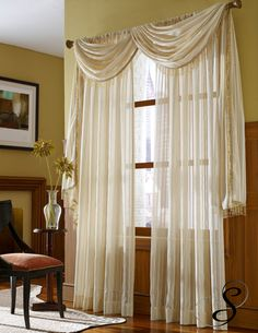 Long Crushed Semi Sheer Voile Scarf Window Valance By Softline Home Fashions 7999 Luxurious Faux Silk Rod Pocket Curt