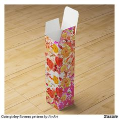 Shop Cute girly flowers pattern wine gift box created by ForArt. Wine Gift Boxes, Champagne Bottles, Surface Design, Floral Tie, Card Stock, Girly, Gift Wrapping, Create, Simple