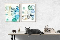 Set of 2 Abstract Prints Modern Blue Poster Indigo Watercolor Navy Blue Decor Bedroom Wall Art Geometric Art, Diptych Art, Abstract Prints, Horizontal Wall Art, Flower Prints Art, Painting, Blue Poster, Art, Prints