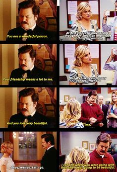 """Parks and Recreation Season Six Episode 1: London. """"I can tell where you were going with that and it was going to be beautiful."""""""