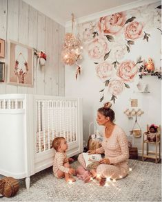 One day for a baby girl… I love the rose wallpaper for a little girl's room or nursery. How sweet. One day for a baby girl… I love the rose wallpaper for a little girl's room or nursery. How sweet. Baby Bedroom, Baby Room Decor, Bedroom Kids, Baby Rooms, Trendy Bedroom, Diy Girl Nursery Decor, Nursery Room Ideas, Childrens Bedrooms Girls, Nursery Crafts